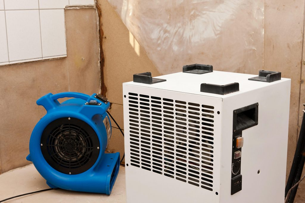 Elimination of water damage with dryer and fan.